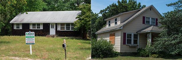 Properties on Herbertsville (left) and Drum Point roads in Brick. (Photos: Daniel Nee)