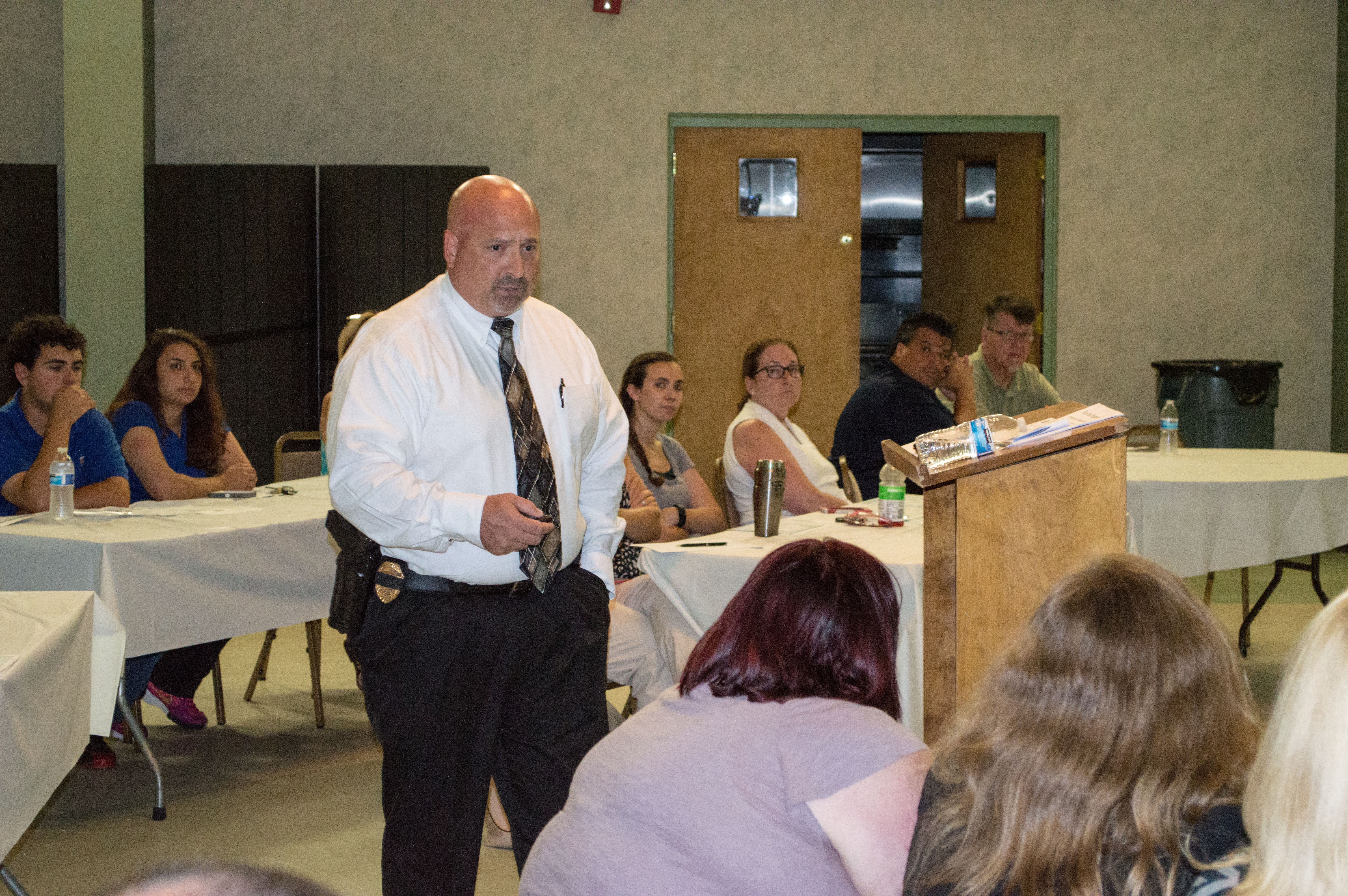 Brick Police Detective Tim McCarthy addresses business owners on active shooter preparation. (Photo: Daniel Nee)