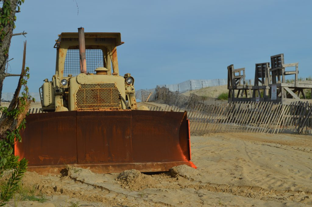 A bulldozer at the entrance to Brick Beach III, Sept. 2, 2016. (Photo: Daniel Nee)