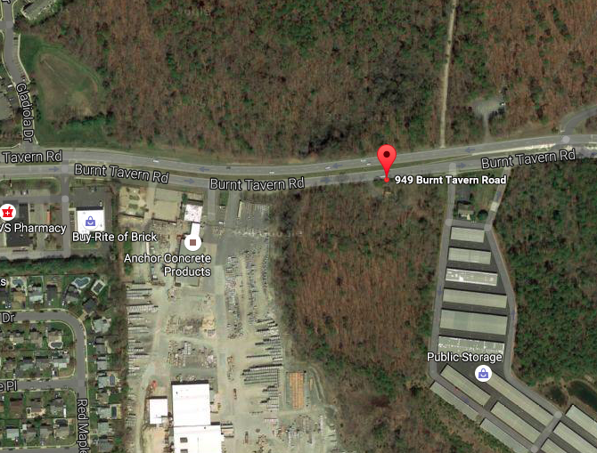 The site of a proposed car dealership at 949 Burnt Tavern Road, Brick. (Credit: Google Maps)