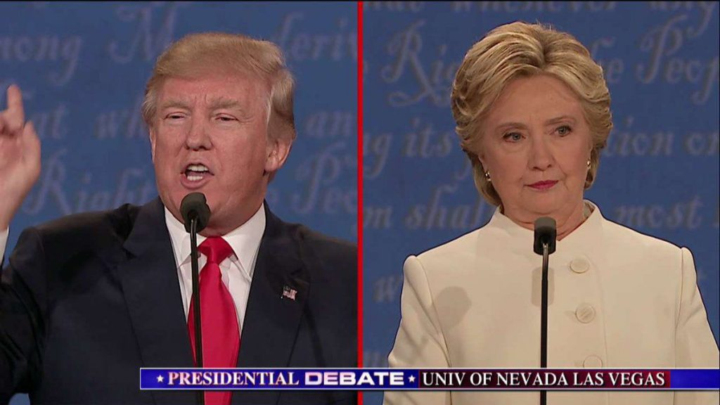 Donald Trump and Hillary Clinton during the third U.S. presidential debate. (File Photo)