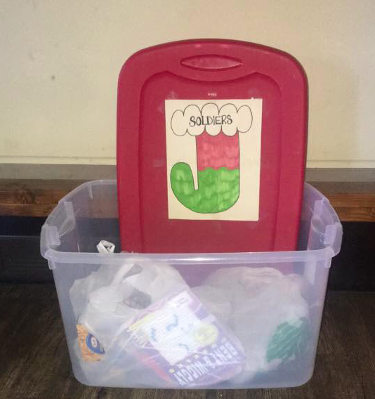 A gift collection bin at the Legion hall. (Credit: ALA 348)