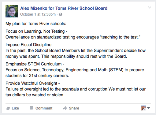 Identical messaging used in Brick and Toms River school board races. (Credit: Facebook)