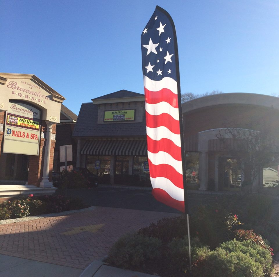 A feathered American flag, once posted outside Skillets Fresh Grill in Brick. (Photo: Scott James)