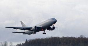 The Boeing KC-46 tanker during a test flight. (Credit: USAF)