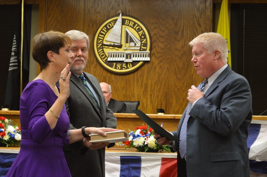 Andrea Zapcic is sworn in as the Brick Township Council Vice President, Jan. 10, 2017. (Photo: Daniel Nee)