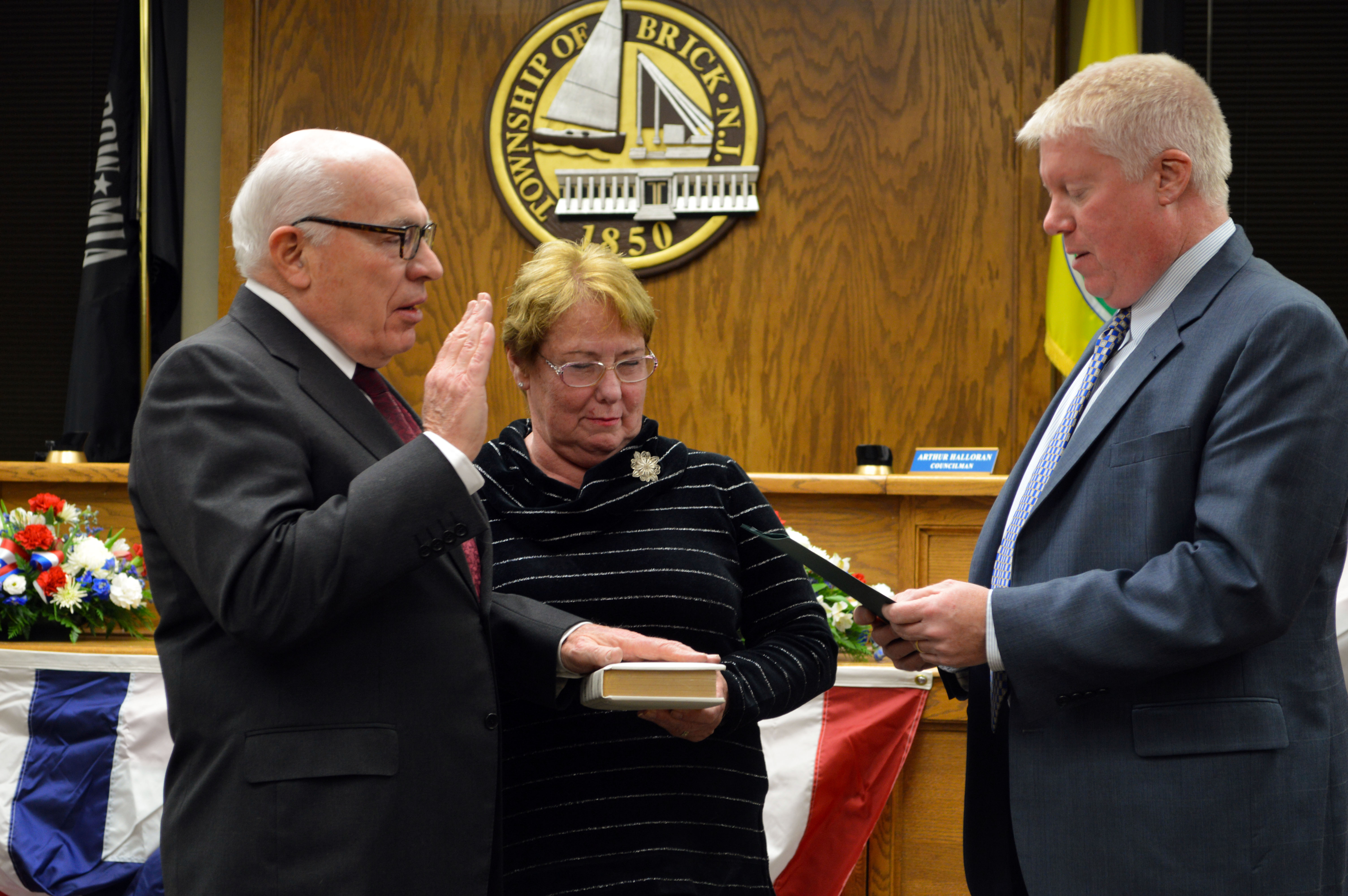 Art Halloran is sworn in as the Brick Township Council President, Jan. 10, 2017. (Photo: Daniel Nee)