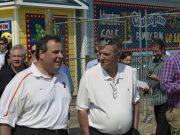 Ocean County GOP Chairman George R. Gilmore walks with Gov. Chris Christie on the Seaside Heights boardwalk. (Photo: Daniel Nee/Shorebeat)