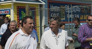 Ocean County GOP Chairman George R. Gilmore walks with Gov. Chris Christie on the Seaside Heights boardwalk. (Photo: Daniel Nee/Shorebeat)