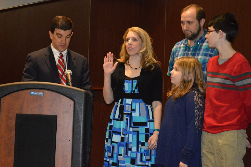Daisy Haffner is sworn into office as a Brick school board member, Jan. 5, 2017. (Photo: Daniel Nee)