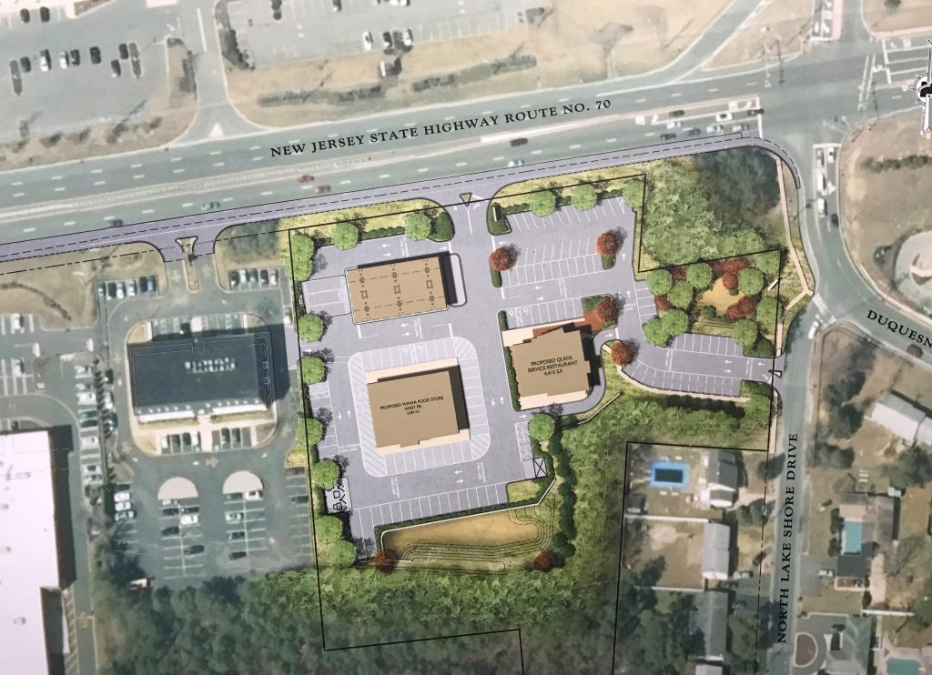 Plans for a Wawa and quick-serve restaurant off Route 70 in Brick. (Photo: Daniel Nee)