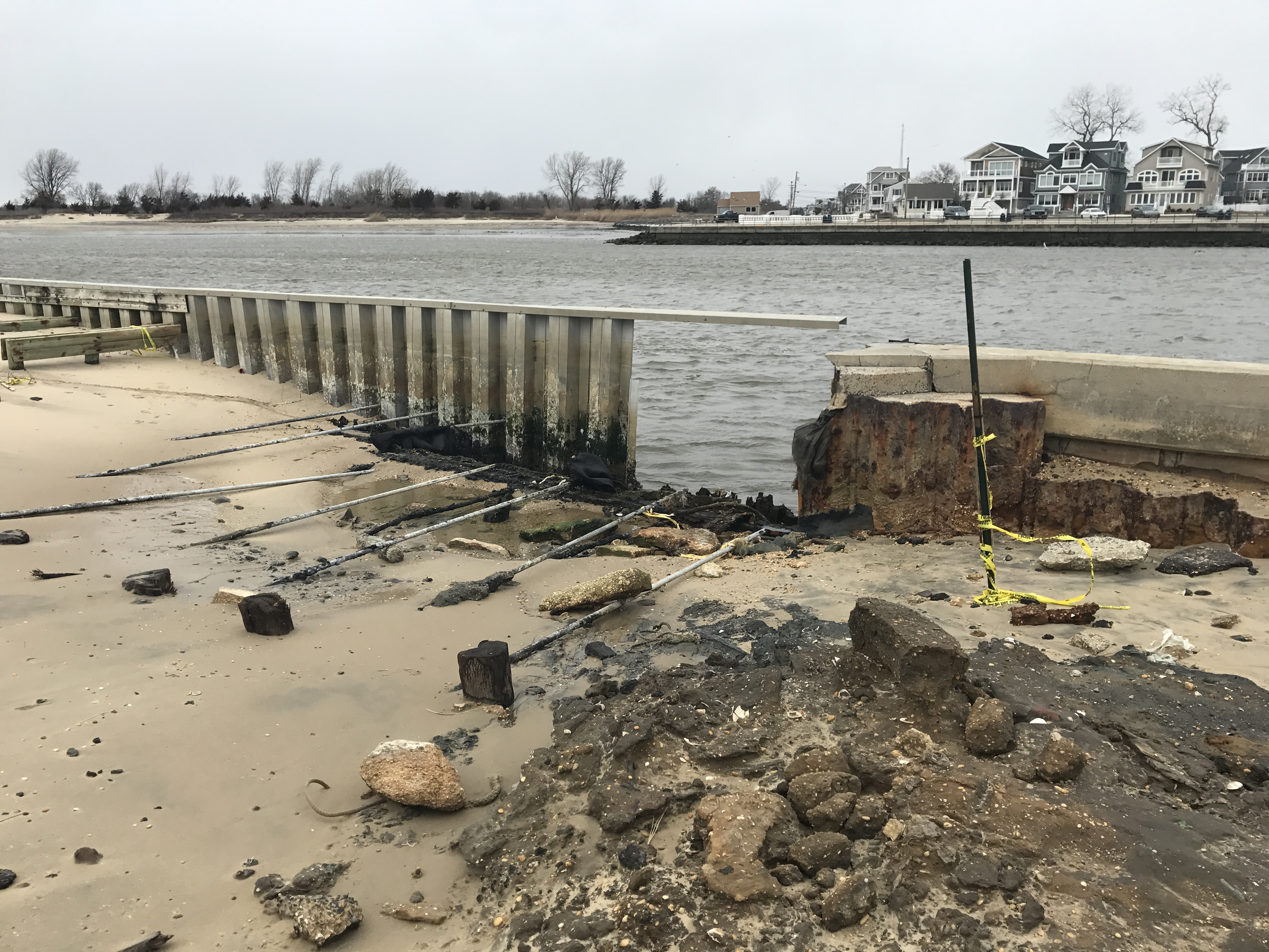 Storm blew hole in manasquan inlet bulkhead fishing off for Point pleasant fishing