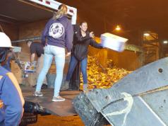 Det. Shadiack (bending over) works in vain to keep up with OCPO interns Eva Vastardis (Black Jacket) and Erika Pettersen (Blue sweatshirt) (Photo: OCPO)