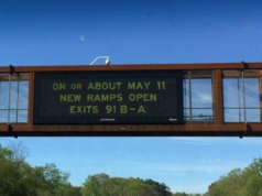 A sign advertising the Interchange 91 opening date. (Credit: WOBM)