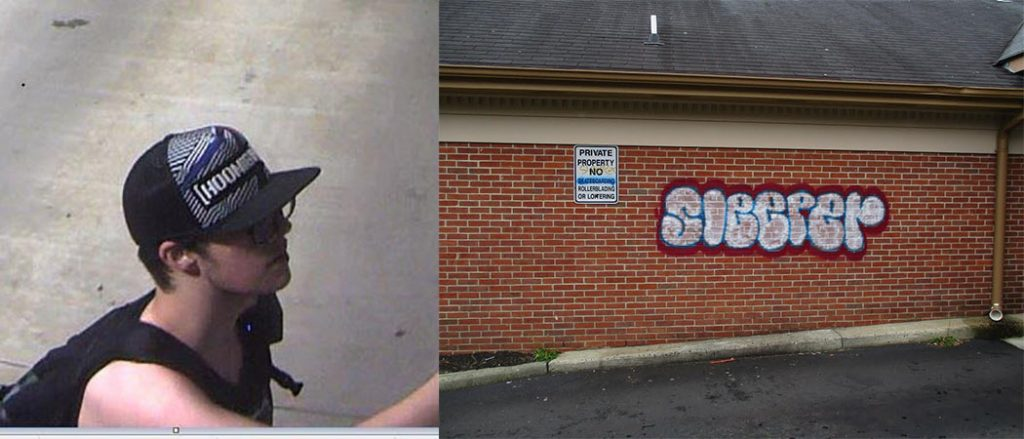 The suspect (and his vandalism) in Brick. (Photo: Brick Township Police)