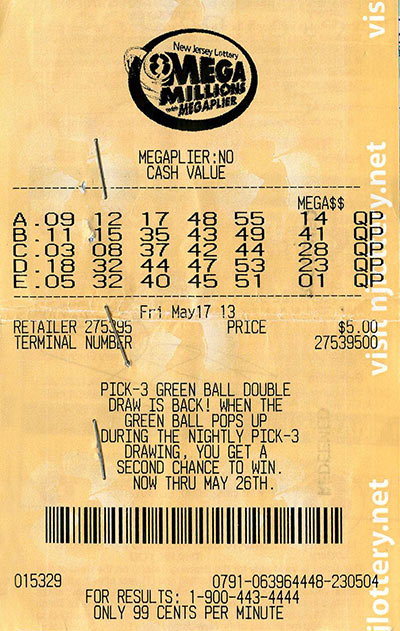 NJ Mega Millions Ticket (File Photo)