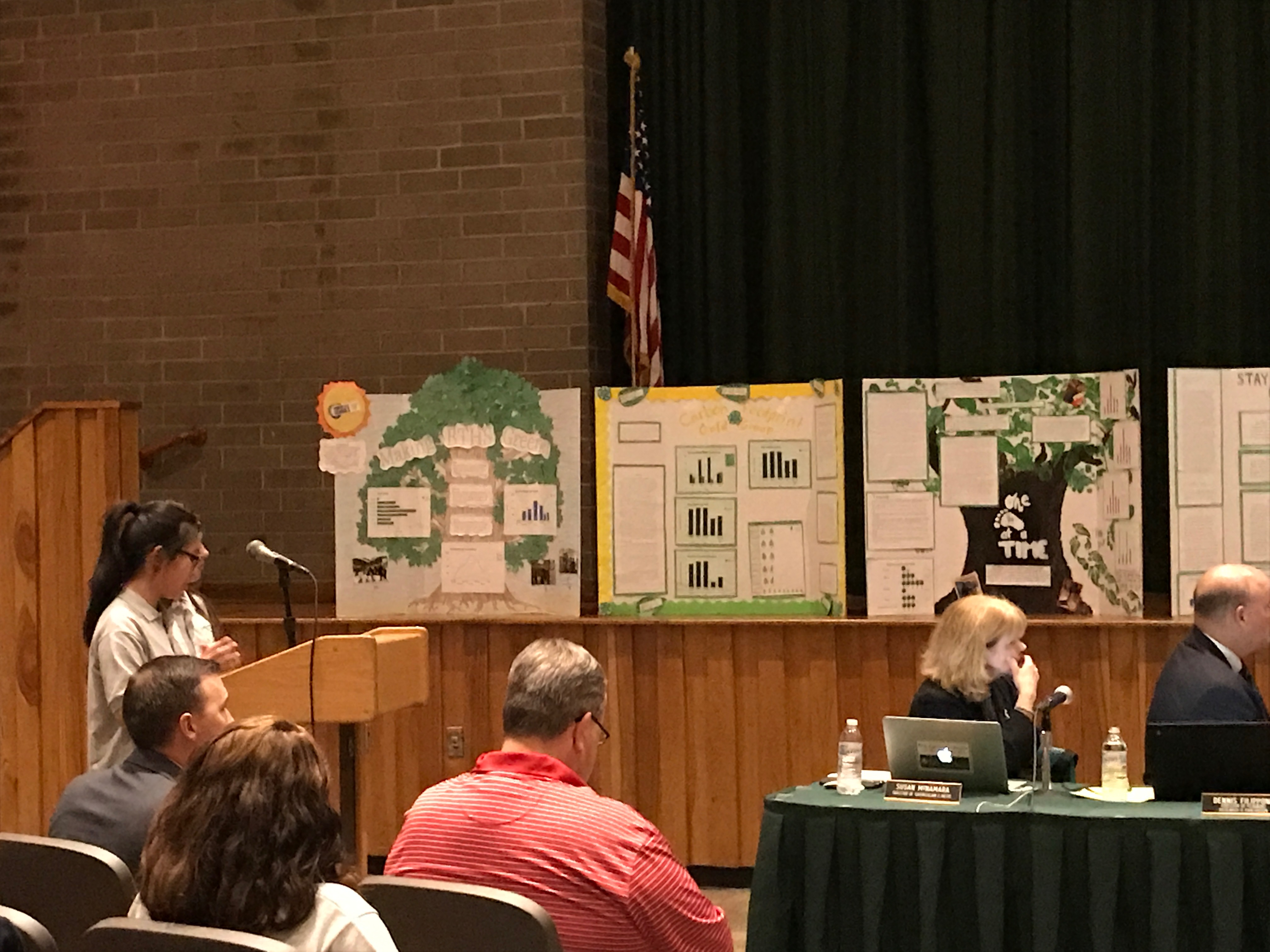Brick STEM Academy students present their project at a Board of Education meeting. (Photo: Daniel Nee)