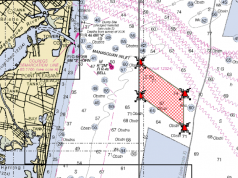 The new Manasquan Inlet Reef, marked in red. (Photo: Daniel Nee)