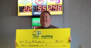 Joseph Shafto Jr. of Brick and his $50,000 lottery winnings. (Photo: New Jersey Lottery)
