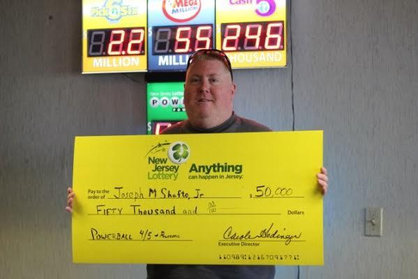Joseph Shafto Jr. of Brick and his $50,000 lottery winnings. (Photo: New Jersey Lottery)