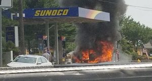 A fire engulfs a vehicle at the Sunoco station in Brick. (Photo: Jersey Shore Hurricane News)