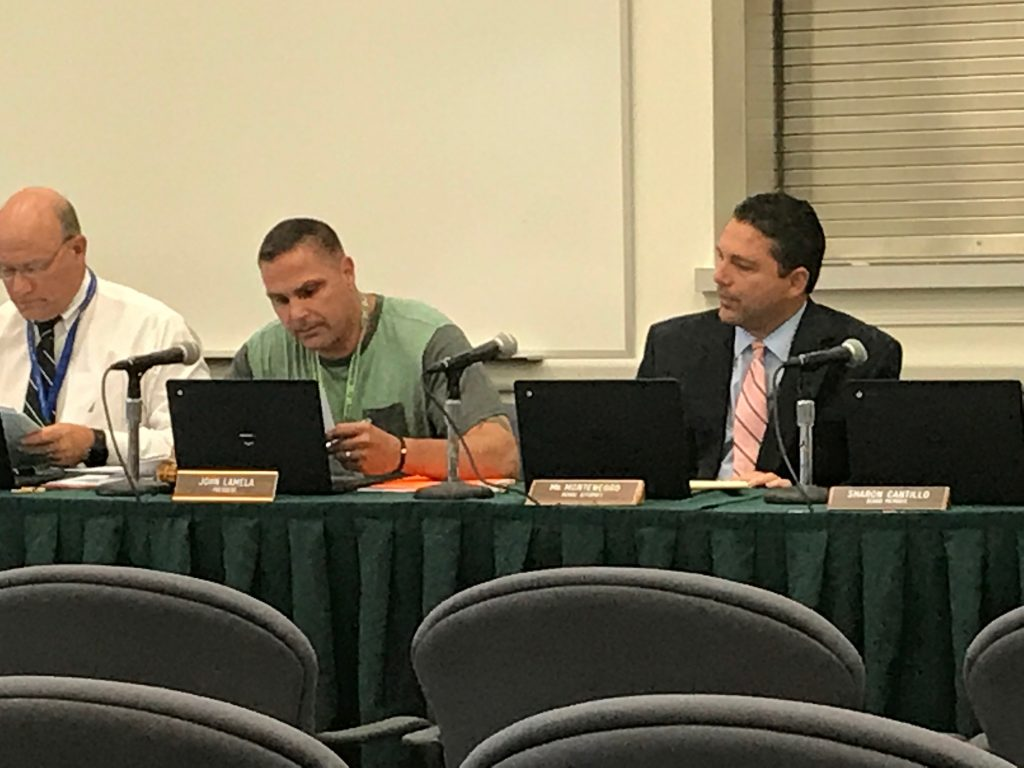 Brick school board president John Lamela announcing budget cuts, July 27, 2017. (Photo: Daniel Nee)