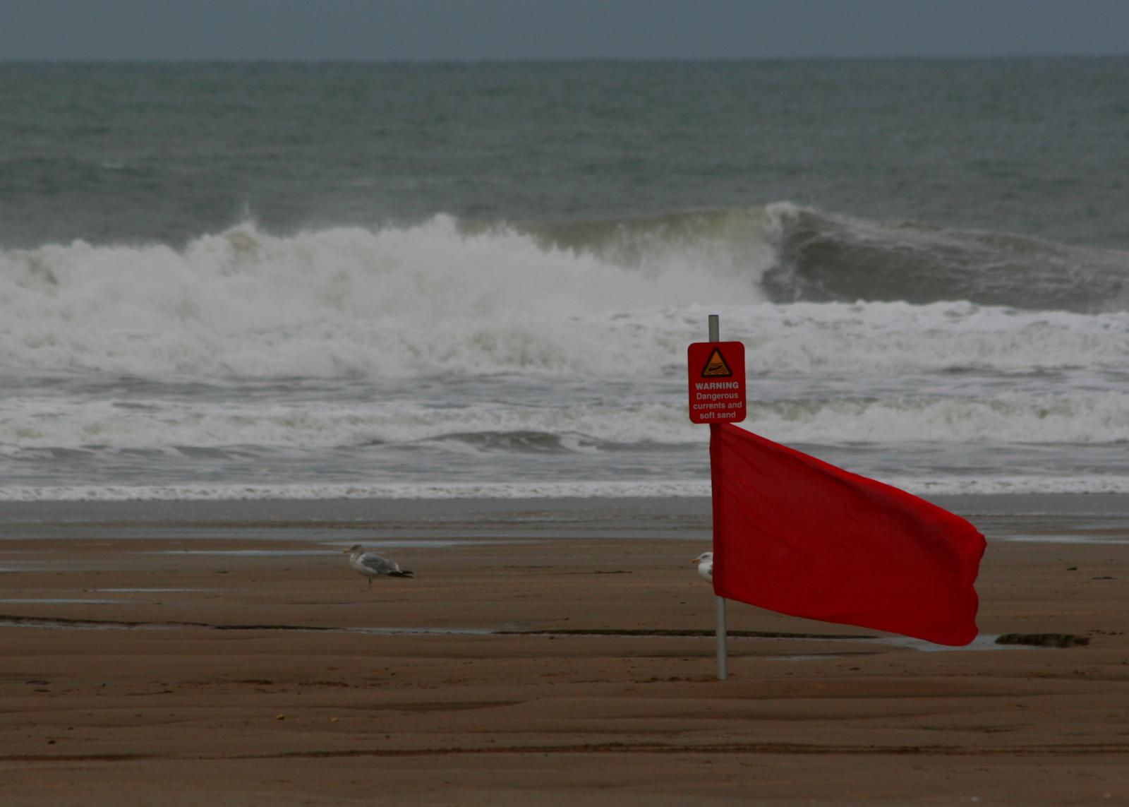 A red, no swimming, flag at a local beach. (File Photo)