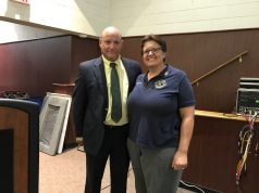 Brick schools superintendent Dennis Filippone and BMHS teacher Ann Marie Tarnowski (Photo: Daniel Nee)
