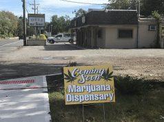 A prank sign advertising a medical marijuana dispensary on Herbertsville Road. (Photo: Daniel Nee)