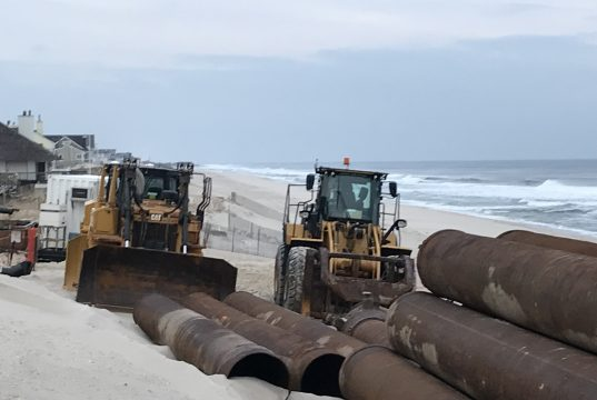 Equipment set up at Brick Beach III for a beach replenishment project. (Photo: Daniel Nee)