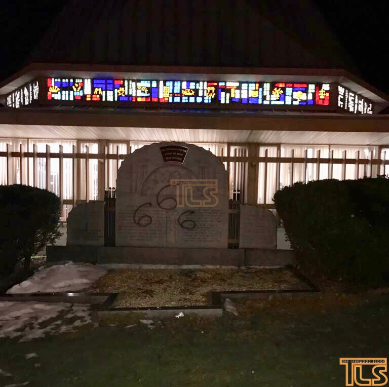 Vandalism at the Sons of Israel Shul, March 24, 2018. (Credit: The Lakewood Scoop)