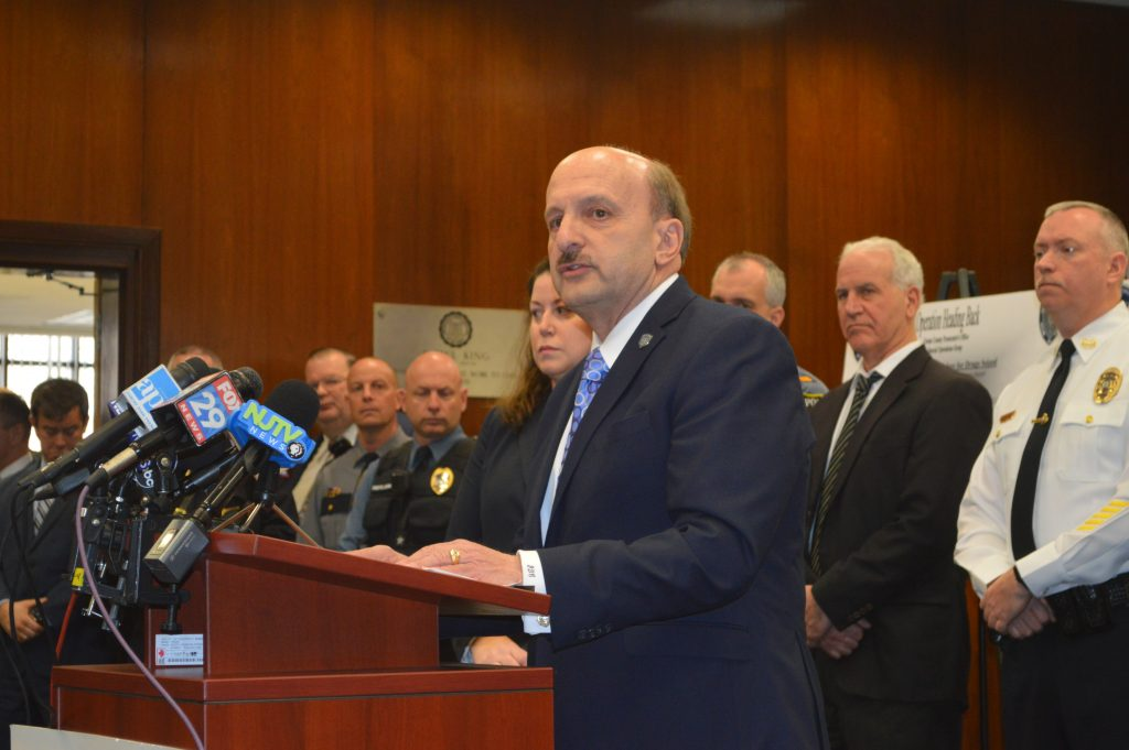 Ocean County Prosecutor Joseph Coronato announces charges in the largest drug bust in county history, March 9, 2018. (Photo: Daniel Nee)