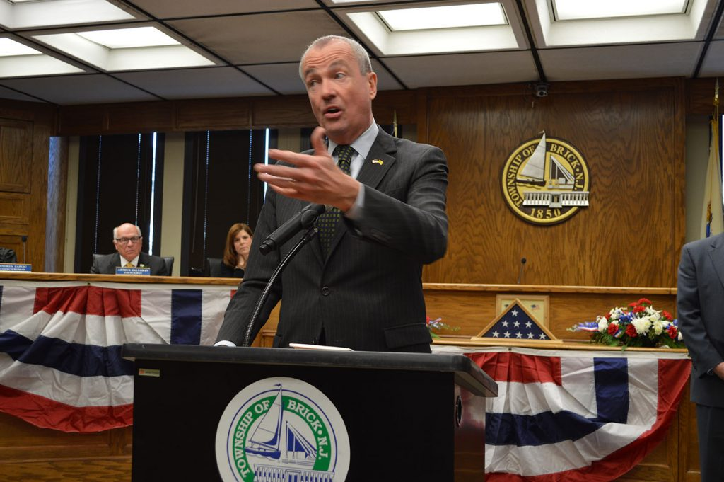 N.J. Governor Phil Murphy delivers remarks in Brick Township. (Photo: Daniel Nee)