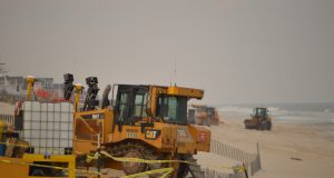 Crews ready a beach replenishment project in Brick, N.J., April 10, 2018. (Photo: Daniel Nee)