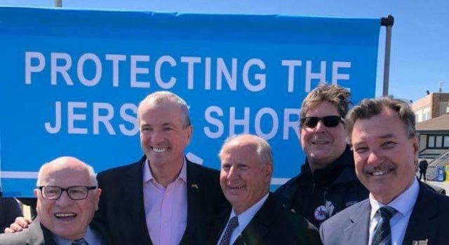 Brick officials join Gov. Phil Murphy in signing legislation banning offshore drilling in New Jersey. (Photo Courtesy: Jim Fozman)