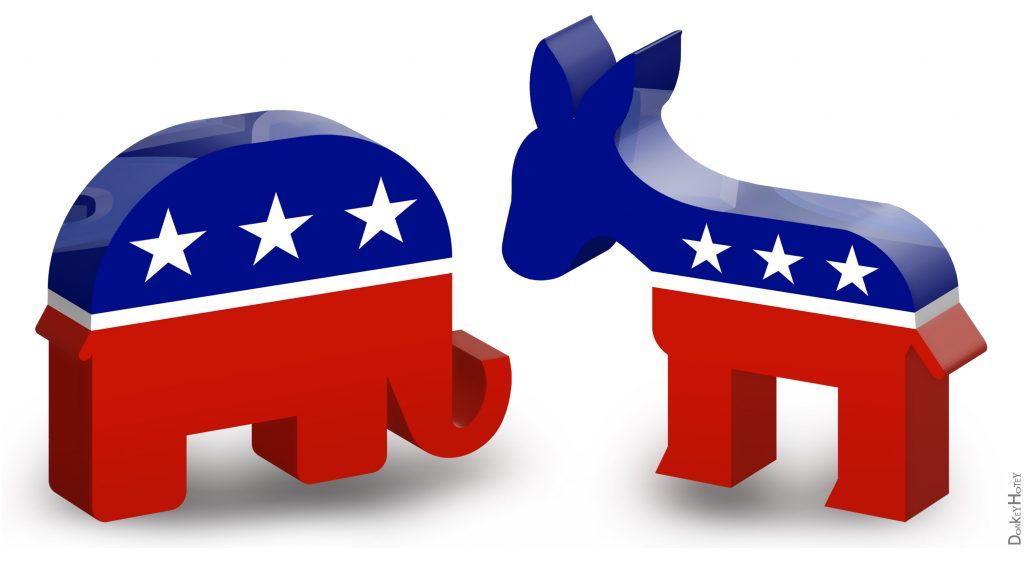 Republican elephant and Democratic donkey. (Credit: DonkeyHotey/ Flickr)