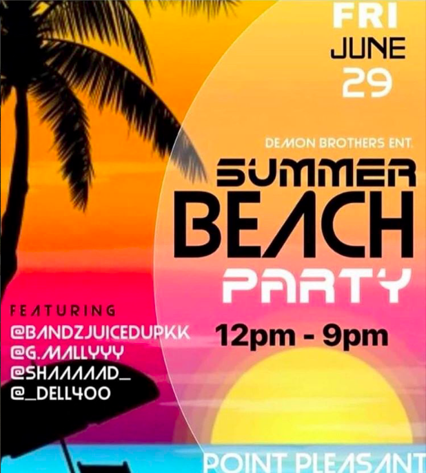 An advertisement promoting a party in Point Pleasant Beach on June 29, 2018. (Instagram Post)