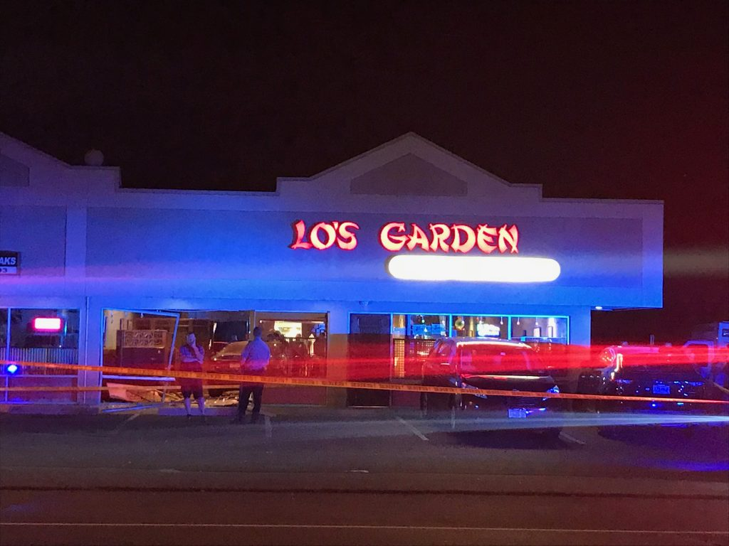 The scene after a driver plowed into Lo's Garden restaurant in Brick. (Credit: Amanda Eldracher)