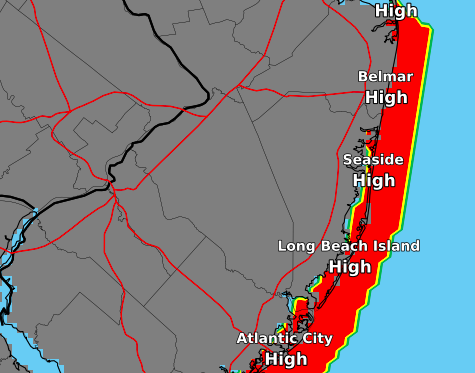 Rip current risk for July 25, 2018. (Credit: NWS Philadelphia)