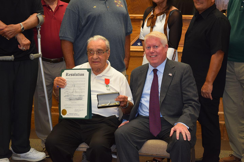 John Santillo with Mayor John Ducey. (Photo: Daniel Nee)