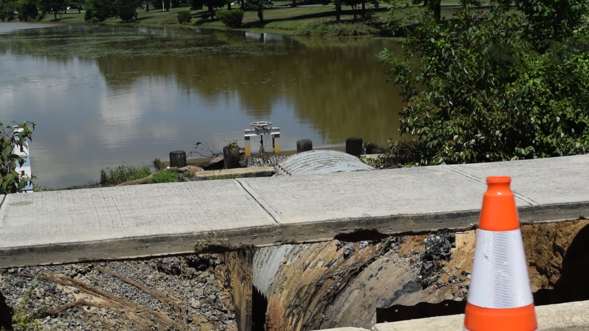 A damaged dam and culvert in Greenbriar I following the Aug. 13, 2018 storm. (Photo: Daniel Nee)