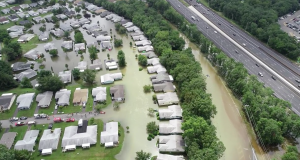 Flooding in Greenbriar I, Aug. 13, 2018, captured by a Brick police drone. (Credit: Brick Twp. Police)