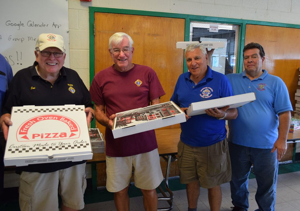Members of Knights of Columbus Council #8160 at the pizza party they sponsored for special needs students in Brick, Aug. 1, 2018. (Photo: Daniel Nee)