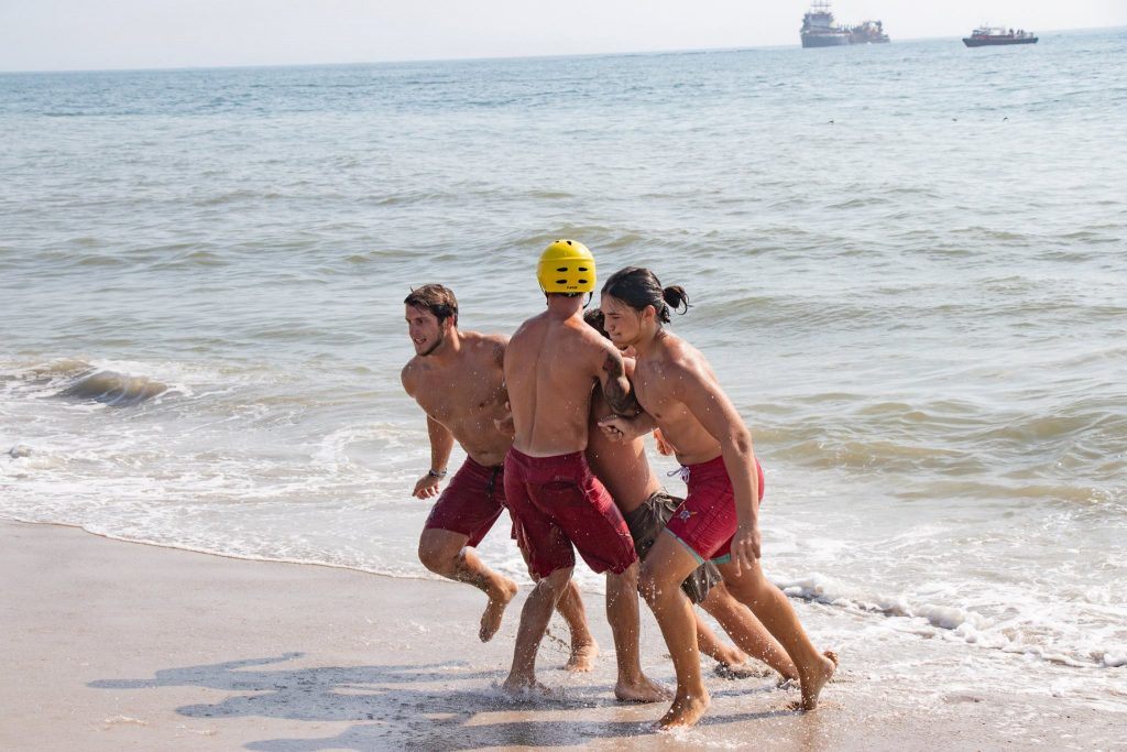 Brick lifeguards train to respond to a boating accident near shore, Aug. 2018. (Photo: Chris Chace)