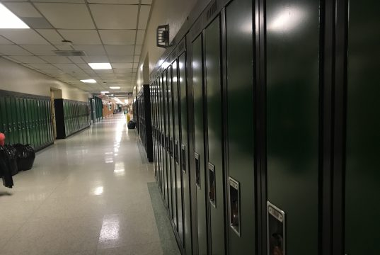 A row of lockers at Brick Township High School. (Photo: Daniel Nee)