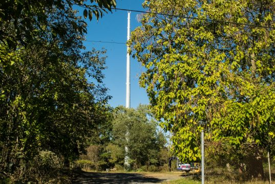 A communications tower along Herbertsville Road in Brick. (Photo: Daniel Nee)