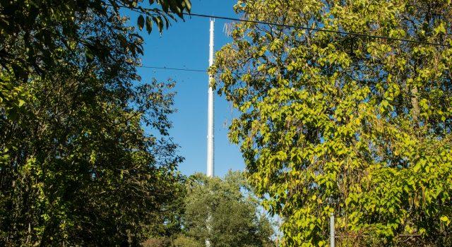 A communications tower along Herbertsville Road in Brick. (Photo: Daniel Nee)