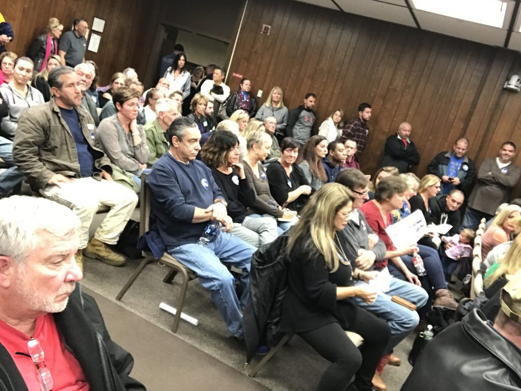 A crowd packed inside the Brick Township municipal complex for a Nov. 19, 2018 hearing on a medical marijuana dispensary. (Photo: Daniel Nee)