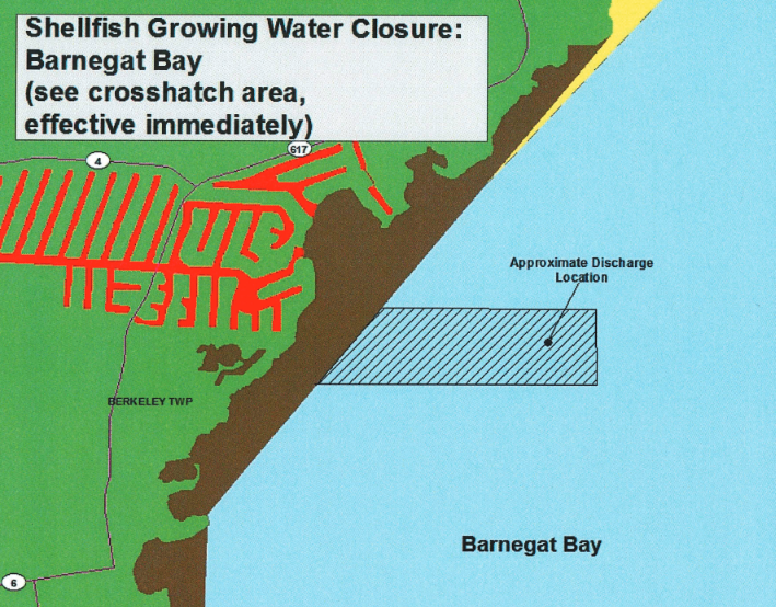 The location of shellfish beds closed Oct. 12 in Barnegat Bay. (Photo: NJDEP)