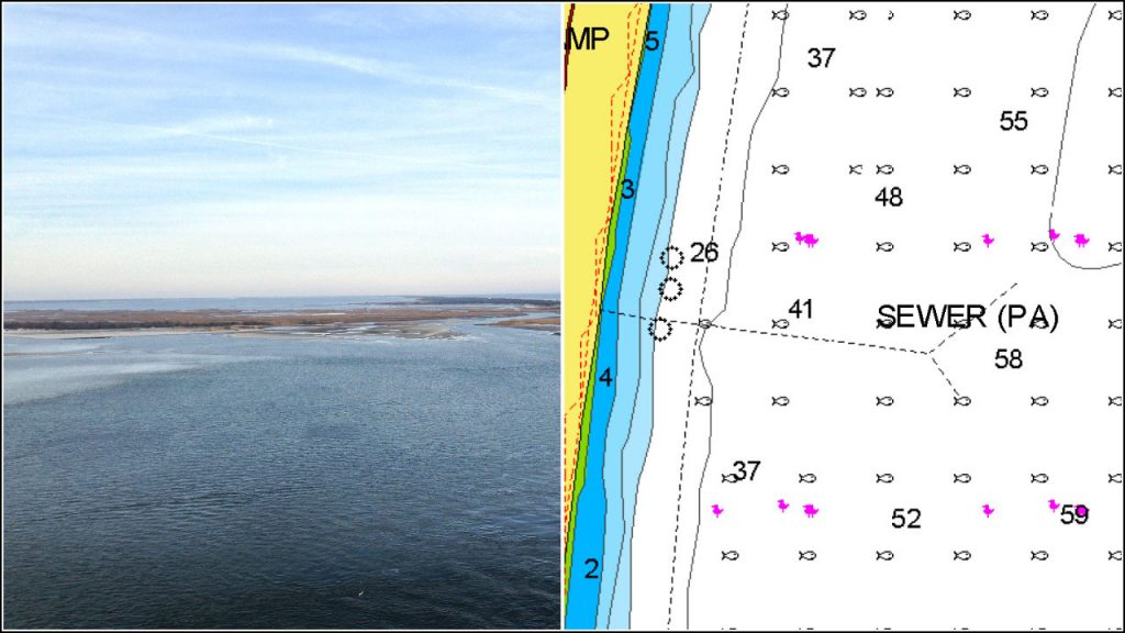 A pipeline between Bayville and the Atlantic Ocean is leaking in Barnegat Bay. (Photo: Daniel Nee/Nautical Chart)